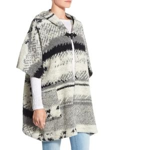 BB Dakota Roza Textured Hooded Poncho Cardigan